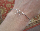 Bow bangle bracelet, bow bracelet, thank you for helping us tie the knot bracelet, bridesmaid gift, sterling silver bracelet, wire bangle
