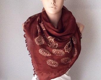 Redish, redish brown and cream flower scarf, wrap