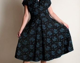 Vintage 1950s Dress - Black & Turquoise Floral Print Cocktail Dress - Large