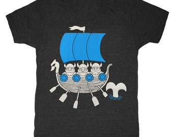 Vikings - Unisex Mens T-Shirt Vintage Nautical Chart Sail Boat Sailing Whale Oar Dragon Ship Nordic Scandanavian Gnomes Tee Shirt Tshirt