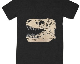 Trex Fossil - Unisex Vneck T-shirt Museum Tee Shirt Awesome Dino Geek Vintage Science Archaeology Skeleton Tyrannosaurus Rex Dinosaur Tshirt