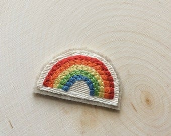Rainbow Patch, Sew-on Patch, Rainbow Pride, Hand Embroidery, Jacket Patch, Retro Rainbow, Love Is Love, Rainbow Gift, Felt Patch, Pride Gift
