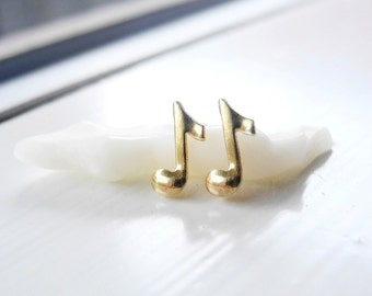 Musical Notes Earrings,Tiny Gold Brass Music Note Studs,Music Musical Jewelry,Music Gift,Unisex Sterling Silver Earrings (E254)
