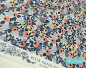 Rifle Paper Co Fabric, Cotton and Steel fabric, Les Fleurs by Ana Bond, Rifle Paper Company, Blue fabric, Rosa in Periwinkle- Choose the cut