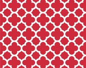 SALE fabric, 6 dollars per yard, Red and White fabric, Quatrefoil fabric, Riley Blake- Quatrefoil in Red, Red fabric, Choose your cut