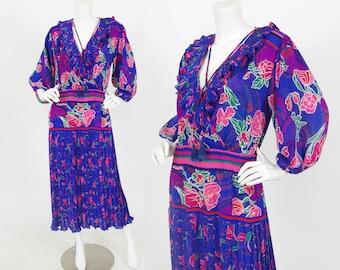 Diane Freis 1980's Vintage Bohemian Blue Floral Georgette Tassel Ruffle Dress