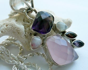 Multi Colored Semi Precious Stone Pink Quartz Amethyst Moonstone Garnet Sterling Silver Modern Colorful Boho Gift for Her Pendant Necklace