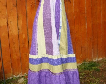 Maxi DRESS Purple Spring Love Hippie Patchwork VINTAGE Boho Eyelet Lace OOAK Handmade Hippy Full Floor Length Phish Festival Tour Retro Gown