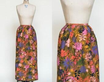 1960s Hostess Apron --- Vintage Floral Skirt