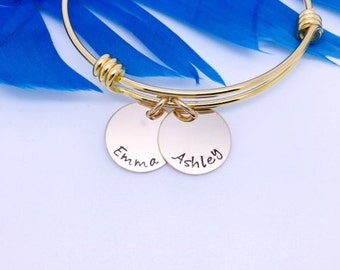 Gold Name Bracelet, Personalized Bangle, Kids Names Bracelet, Mothers Bracelet, Charm Bracelet, Personalized Jewelry, Mothers Day gift