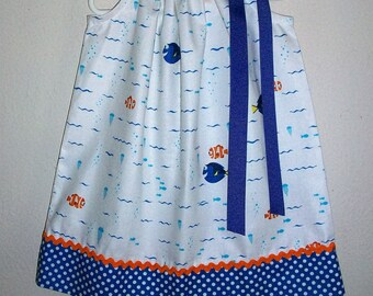 Girls Dress with Dory and Nemo Pillowcase Dress Finding Dory Dress with Fish Dress Ocean Party baby dress toddler dress Under the Sea Party
