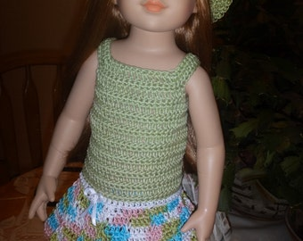 Crochet Outfit for Tonner Magic Attic 18 inch Doll Dress Hat Bottoms Shoes Maryjane Green Pink Blue