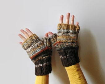 Brown Wool Hand Knitted Mitts, Womens Mittens, Fingerless Gloves, Knit Hand Warmers, Fall Fashion, Winter Accessories, Chunky Knit, Mens