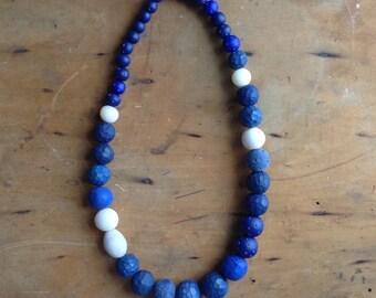 Blue, cobalt, hand-carved necklace