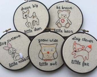 hand embroidery. woodland animal nursery art. clever fox. wise owl. brave bear. 5 inch embroidery hoop. woodland animal decor. forest animal