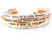 Custom Quote Cuff Bracelet - Skinny Stacking Bracelet - Personalized Quote Bracelet