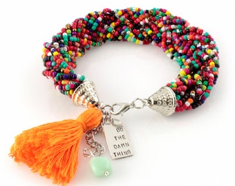 Rainbow Beaded Bracelet - Do The Damn Thing - Tassel Bracelet - Motivational Bracelet