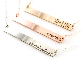 Personalized Bar Necklace - Custom Necklace in Sterling Silver, Gold, or Rose Gold - Personalized Necklace - Word of the Year