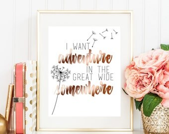 Belle Art Print - I Want Adventure in the Great Wide Somewhere - Nursery Art Print - Rose Gold Foil 8x10 Print