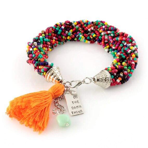 Rainbow Beaded Bracelet - Do The Damn Thing - Tassel Bracelet - Motivational Bracelet