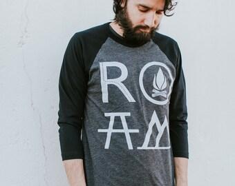 ROAM men's t shirt, unisex baseball tee, men or women, graphic tee, camping print on heather black, gift for travelers, wanderlust shirt