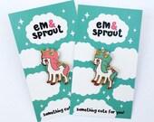 Unicorn hard enamel lapel pin - pink or mint