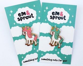 Unicorn hard enamel lapel pin - pink or mint