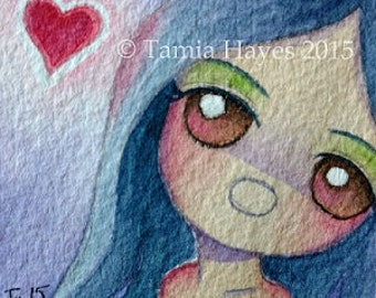 Love Yourself Red Hearts Watercolor Original Art Painting Chicasol Child