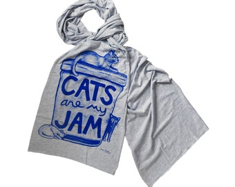 Cat Lover Scarf / Cats are my Jam : gift for women, crazy cat lady gift, fall accessory, back to school, jersey scarf, scarves, gift for her