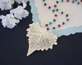 Silver Cottonwood Leaf Necklace, Sapphire, Emerald Chain, Ruby Chain, Silver Leaf, Real Leaf, Unique Gift, Silver Cottonwod Leaf, LC138