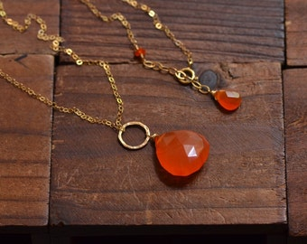 14kt Gold Orange Carnelian Necklace  Handcrafted Gemstone Necklace - Gold Circle Link Necklace - Long Dainty Gold Necklace