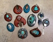 Reserve Listing Custom Southwest Pendants with Silver and Turquoise Set of 10