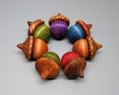 Autumn Acorns, Set of 7, Wooden Acorn, Table Decor, Pyrography, Fall Decor