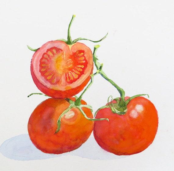1 Fruit Painting Vegetable Art Tomato Original by LaBerge on Etsy
