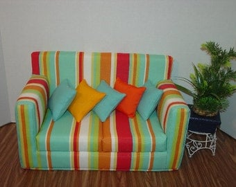 18 Inch Doll Sofa -Colorful Stripes - Handmade