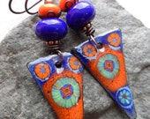 Pointed Complements ... Enameled Copper, Lampwork and Copper Wire-Wrapped Rustic, Boho, Woodland, Floral Earrings