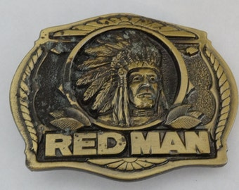 Belt Buckle Indian Chief 1988 Red Man Limited Edition, Made exclusively for Redman, Made in USA Pinkerton Tobacco Company, American Indian