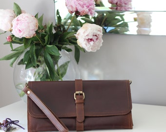 Brown Leather Wristlet, Clutch, Shoulder Bag, Evening Bag