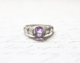 vintage 30s art deco amethyst solitaire ring • sterling silver engagement ring • february birthstone ring