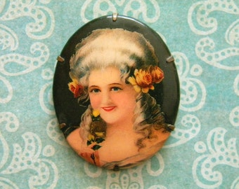 Vintage Celluloid Brooch with Beautiful Woman 1920's Era Marie Antoinette