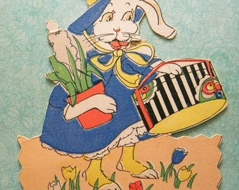 Vintage Easter Card Anthropomorphic Bunny Rabbit Carrying Hat Box