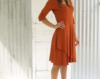 Organic Cotton Sleeved Dress, Soft Bamboo Dress