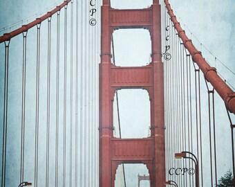 Golden Gate Bridge San Francisco Art Wall Decor Fine Art Print Landscape Photo California Artwork Blue Green Orange Bridge Crossing