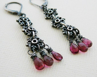 Oxidized Sterling Gemstone Earrings, Pink Tourmaline Antiqued Sterling Silver Long Dangle Jewelry