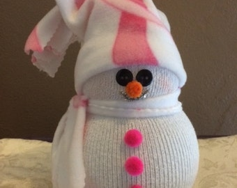 Lighted Snowman Breast Cancer Awareness Pink Ribbon