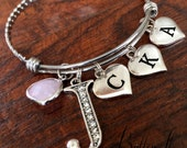 INITIAL bracelet, Gifts for MOM, Mom jewelry, Mother's Day gift, Gifts for grandma, GRANDCHILDREN jewelry, Mother, I love you, blush pink