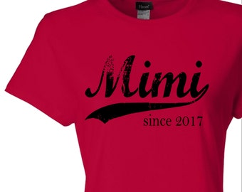 Mimi since ANY year, screen print t-shirt, custom womens fitted tee, grandmother gift, Christmas gift, new grandma gift