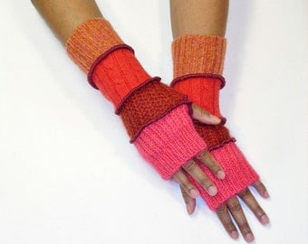 Fingerless  Gloves, Armwarmers, Handwarmers (Coral/Reddish Brown/Red Orange/Patched Melon) by Brenda Abdullah