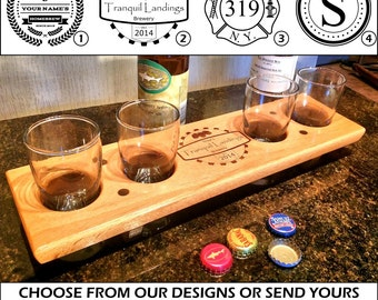 Personalized Engraved Beer Flight - Paddle, Caddy, Tasting Board Set - Gifts for Men - Groomsmen Bridesmaid - Nerd - Man Cave