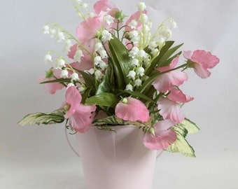 Spring table arrangement, lily of the valley centerpiece, spring arrangement, Spring décor, spring floral, home décor, mother's day gift